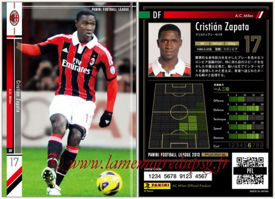 Panini Football League 2013 - PFL03 - N° 003 - Cristian Zapata (Milan AC)