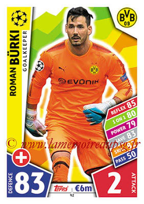 2017-18 - Topps UEFA Champions League Match Attax - N° 092 - Roman Bürki (Borussia Dortmund)