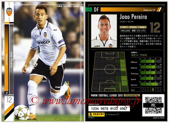 Panini Football League 2013 - PFL04 - N° 050 - Joao PEREIRA (FC Valence)