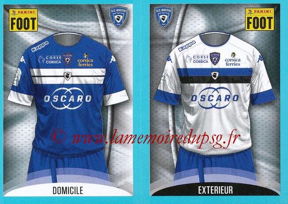 2016-17 - Panini Ligue 1 Stickers - N° 048 + 049 - Maillot Domicile + Extérieur (Bastia)