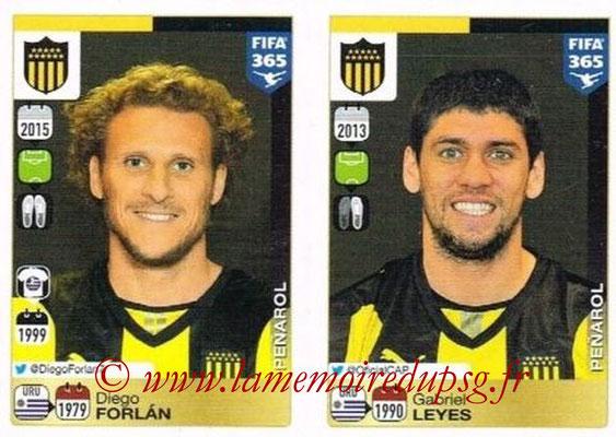 2015-16 - Panini FIFA 365 Stickers - N° 849-850 - Diego FORLAN + Gabriel LEYES (Penarol)