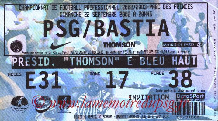 Tickets  PSG-Bastia  2002-03