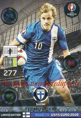 Panini Road to Euro 2016 Cards - N° LE-TP - Teemu PUKKI (Finlande) (Limited Edition)