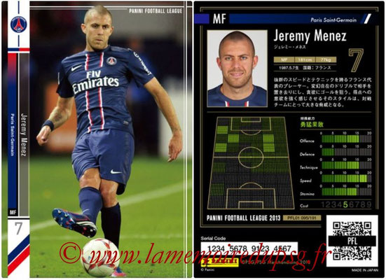 Panini Football League 2013 - PFL01 - N° 095 - Jeremy Menez ( Paris Saint-Germain )