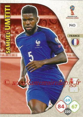 2018 - Panini FIFA World Cup Russia Adrenalyn XL - N° 140 - Samuel UMTITI (France)