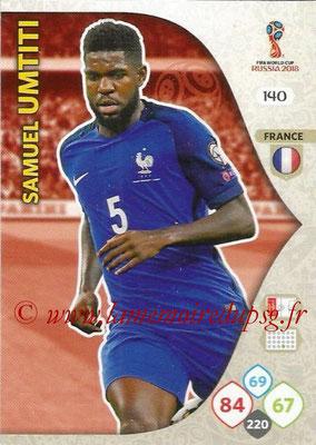 2018 - Panini FIFA World Cup Russia Adrenalyn XL - N° 140 - Samuel UMTITI (France)