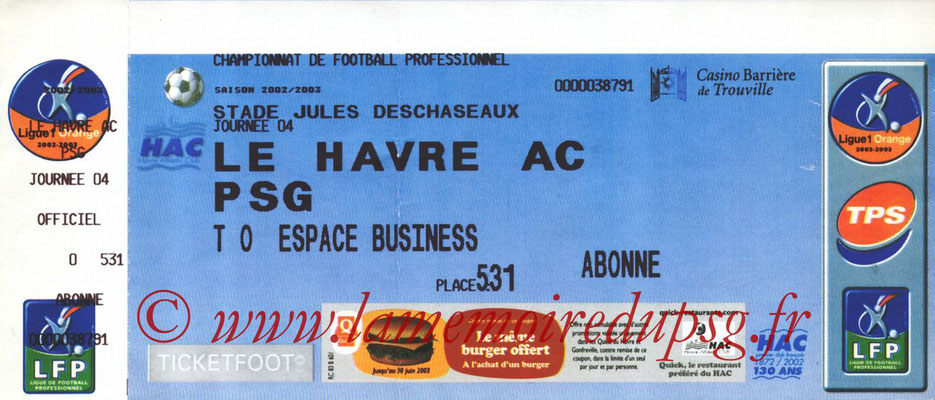 Tickets  Le Havre-PSG  2002-03