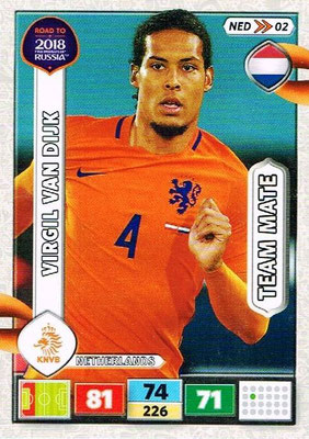 2018 - Panini Road to FIFA World Cup Russia Adrenalyn XL - N° NED02 - Virgil VAN DIJK (Pays-Bas)