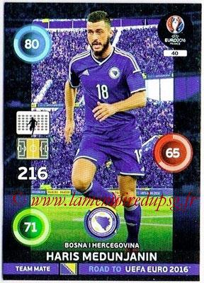 Panini Road to Euro 2016 Cards - N° 040 - Haris MEDUNJANIN (Bosnie Herzegovine)