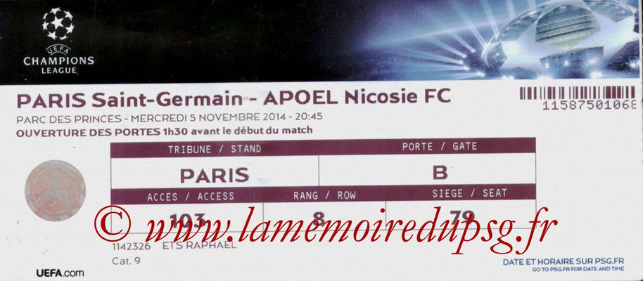 Tickets PSG-Apoel Nicosie  2014-15