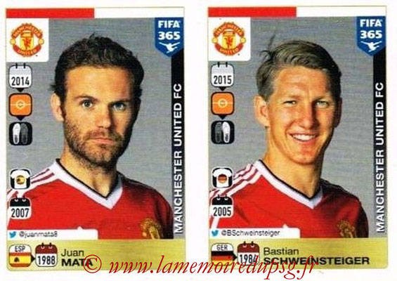 2015-16 - Panini FIFA 365 Stickers - N° 337-338 - Juan MATA + Bastian SCHWEINSTEINSTEIGER (Manchester United FC)