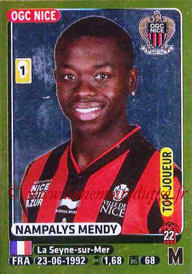 2015-16 - Panini Ligue 1 Stickers - N° 319 - Nampalys MENDY (OGC Nice) (Top joueur)