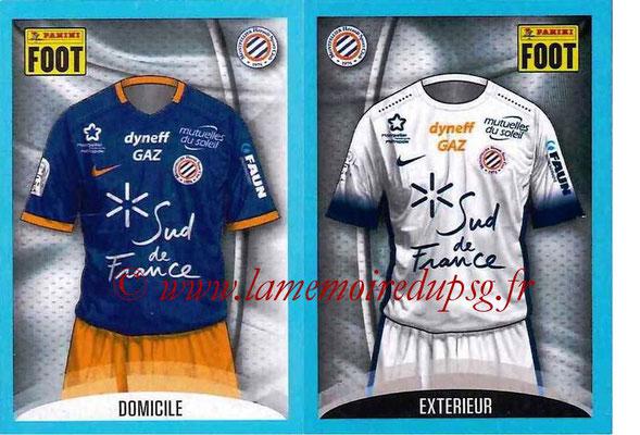 2016-17 - Panini Ligue 1 Stickers - N° 510 + 511 - Maillot Domicile + Extérieur (Montpellier)