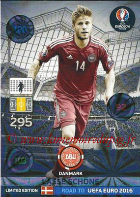 Panini Road to Euro 2016 Cards - N° LE-LS - Lasse SCHONE (Danemark) (Limited Edition)