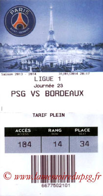 Tickets  PSG-Bordeaux  2013-14