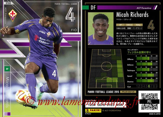 Panini Football League 2015 - PFL09 - N° 030 - Micah RICHARDS (Fiorentina) (Star)