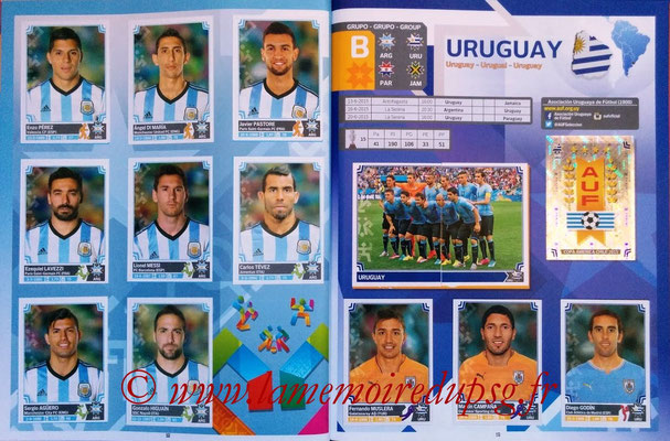 Panini Copa America Chile 2015 Stickers - Pages 18 et 19 - Argentine et Uruguay
