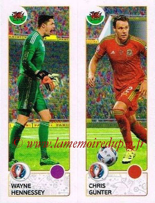 Panini Euro 2016 Stickers - N° 202 - Wayne HENNESSEY +Chris GUNTER (Pays de Galles)