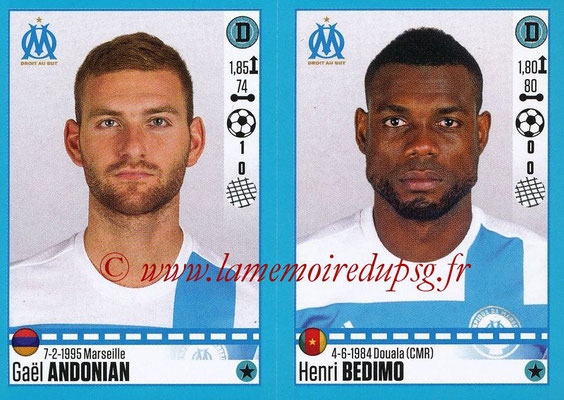 2016-17 - Panini Ligue 1 Stickers - N° 400 + 401 - Gaël ANDONIAN + Henri BEDIMO (Marseille)