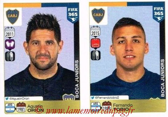 2015-16 - Panini FIFA 365 Stickers - N° 072-073 - Agustin ORION + Fernando TOBIO (CA Boca Juniors)
