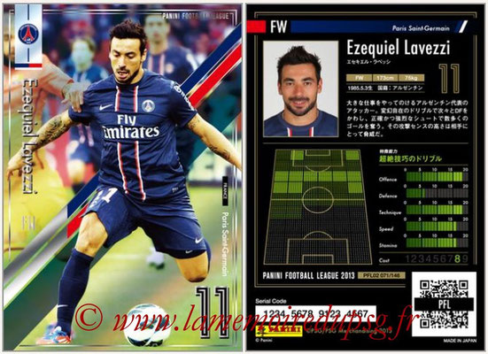 Panini Football League 2013 - PFL02 - N° 071 - Ezequiel Lavezzi ( Paris Saint-Germain )