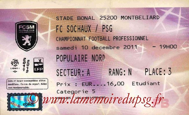 Tickets Sochaux-PSG  2011-12