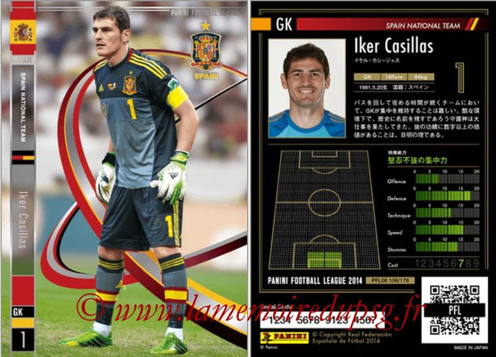 Panini Football League 2014 - PFL08 - N° 106 - Iker CASILLAS (Espagne) (Star +)