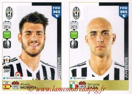 2015-16 - Panini FIFA 365 Stickers - N° 579-580 - Álvaro MORATA + Simone ZAZA (Juventus FC)