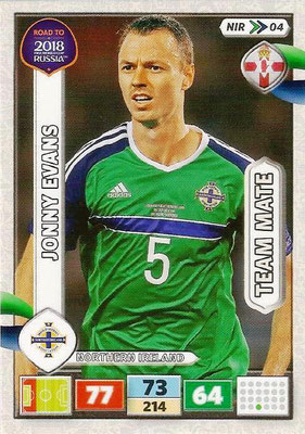 2018 - Panini Road to FIFA World Cup Russia Adrenalyn XL - N° NIR04 - Jonny EVANS (Irlande du Nord) (UK Version)