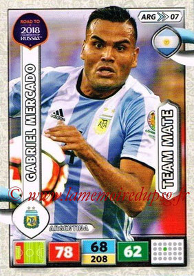 2018 - Panini Road to FIFA World Cup Russia Adrenalyn XL - N° ARG07 - Gabriel MERCADO (Argentine)