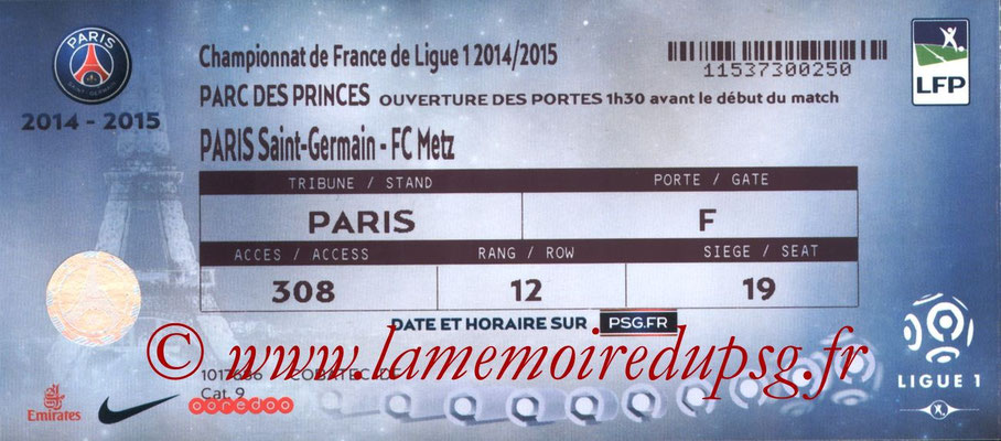 Tickets  PSG-Metz  2014-15