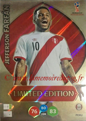 2018 - Panini FIFA World Cup Russia Adrenalyn XL - N° LE-JF - Jefferson FARFAN (Perou) (Limited Edition)
