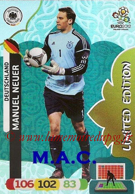 Panini Euro 2012 Cards Adrenalyn XL - N° LE09 - Manuel NEUER (Allemagne) (Limited Edition)