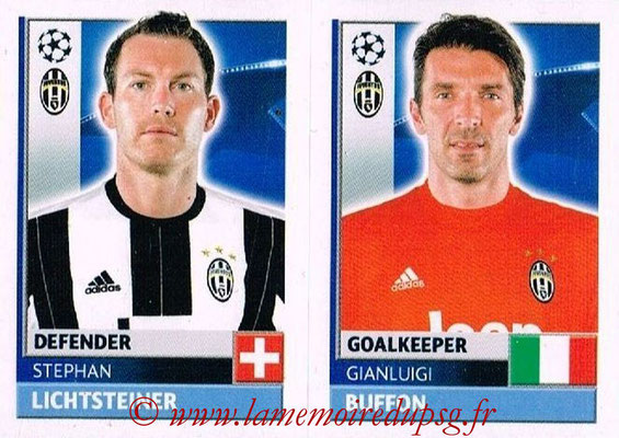 2016-17 - Topps UEFA Champions League Stickers - N° JUV 4-5 - Gianluigi BUFFON + Stephan LICHTSTEINER (Juventus FC)
