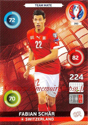 Panini Euro 2016 Cards - N° 393 - Fabian SCHÄR (Suisse)