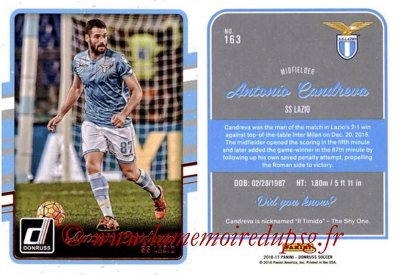 2016 - Panini Donruss Cards - N° 163 - Antonio CANDREVA (SS Lazio)