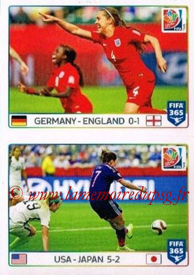2015-16 - Panini FIFA 365 Stickers - N° 056-057 - Allemagne-Angleterre + Etats-Unis-Japon (FIFA Women's World Cup)