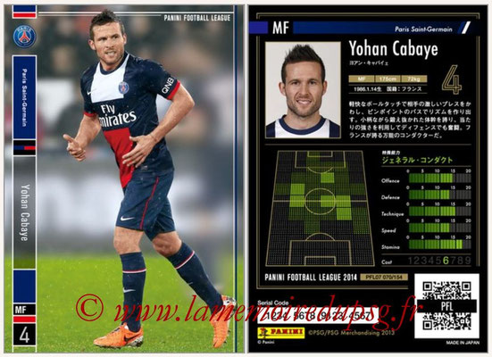 Panini Football League 2014 - PFL07 - N° 070 - Yohan CABAYE (Paris Saint-Germain)