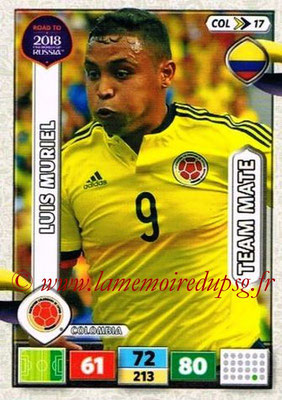 2018 - Panini Road to FIFA World Cup Russia Adrenalyn XL - N° COL17 - Luis MURIEL (Colombie)