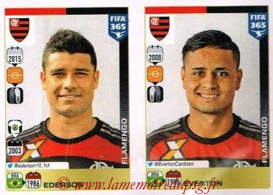 2015-16 - Panini FIFA 365 Stickers - N° 213-214 - EDERSON + EVERTON (CR Flamengo)