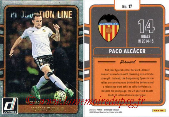 2016 - Panini Donruss Cards - N° PL17 - Paco ALCACER (FC Valence) (Production Line)