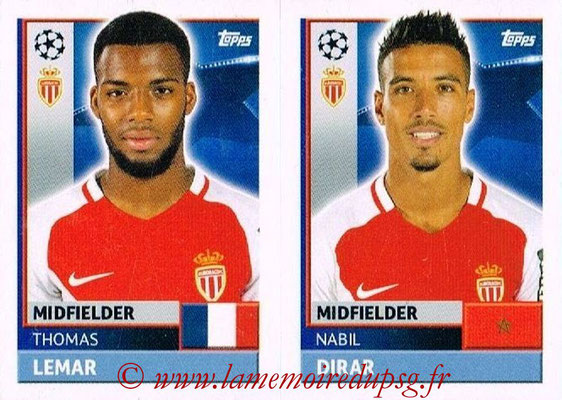 2016-17 - Topps UEFA Champions League Stickers - N° QFH 11-12 - Nabil DIRAR + Thomas LEMAR (AS Monaco)