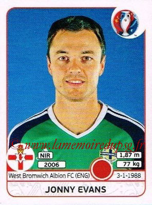 Panini Euro 2016 Stickers - N° 331 - Jonny EVANS (Irlande du Nord)
