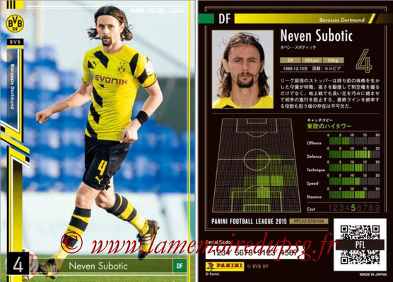 Panini Football League 2015 - PFL12 - N° 070 - Neven SUBOTIC (Borussia Dortmund)