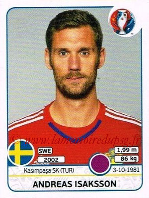 Panini Euro 2016 Stickers - N° 549 - Andreas ISAKSSON (Suède)