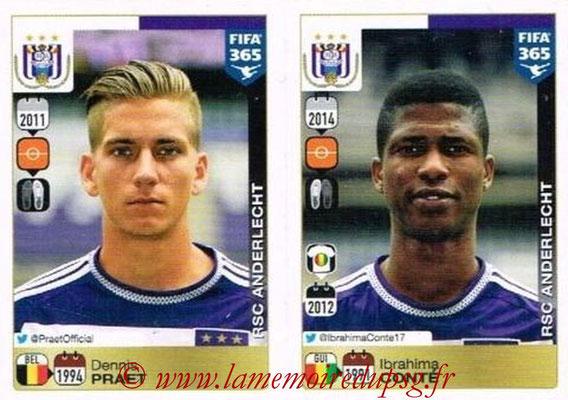 2015-16 - Panini FIFA 365 Stickers - N° 153-154 - Dennis PRAET + Ibrahima CONTE (RSC Anderlecht)