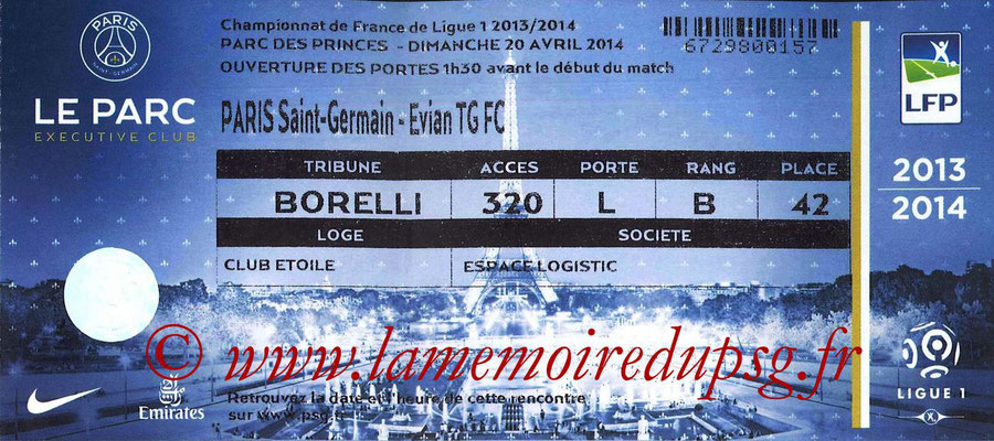 Tickets  PSG-Evian TG  2013-14