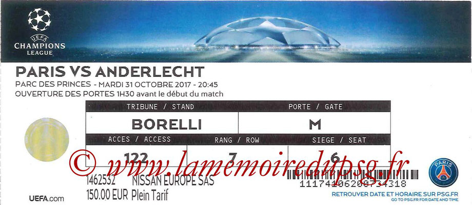 Ticket  PSG-Anderlecht  2017-18