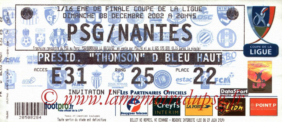 Tickets  PSG-Nantes  2002-03