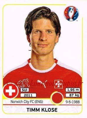 Panini Euro 2016 Stickers - N° 106 - Timm KLOSE (Suisse)
